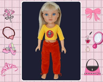 Corolle les cheries doll clothes, Hearts 4 Hearts doll, 14 inch doll pants and tee shirt,Hearts for Hearts, doll workout pants, doll t shirt
