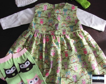 Baby or Toddler Girls Dress - Complete 6 piece outfit for all seasons - OWLS