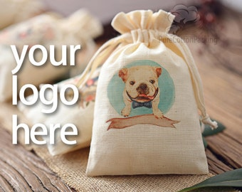 personalized drawstring pouches custom wedding favor bags pouches drawstring bag custom logo beige cotton gift packaging bag 12-Pack