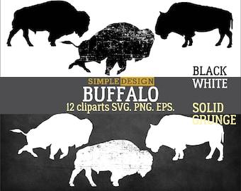 Buffalo SVG, Bison SVG, Buffalo graphic, Buffalo png, Buffalo silhouette, Bison silhouette, SVG, Silhouette svg, Silhouette, Grunge.