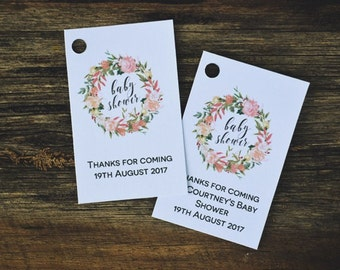 Pink Floral Wreath Baby Shower Tag Template, Editable Thank You Favor Tags, Printable Instant Download PDF