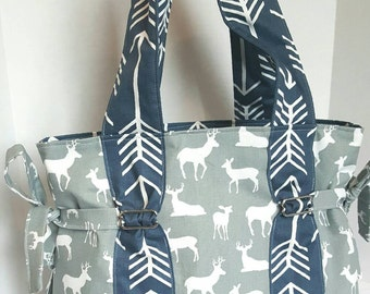 boy deer diaper bag, large arrow diaper bag, gray deer with navy arrow straps and lining. Key pocket, option of removable strap and zipper