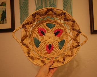 Vintage Coil Basket with Pink and Blue
