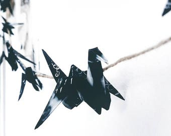 Origami Birds - Black & White Ink Hanging Paper Cranes String Chain : Japanese / Art / Japan / Monochrome / Paper Birds / Bunting