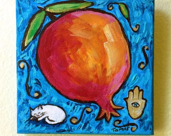 Pomegranate, Hamsa Hand and a White Cat Sleeping, Original Jewish Painting, Acrylic on Canvas, Hanukkah Gift, Judaica Art, Rimon, Chamsa