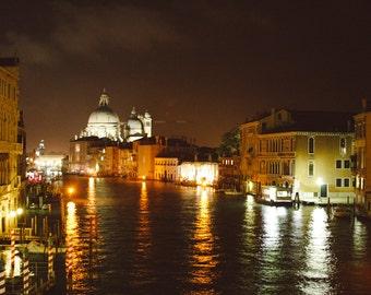 Grand Canal at Night Photography Print, Venice Italy - Travel photography, night photo, cityscape wall art, peaceful photograph, photo print