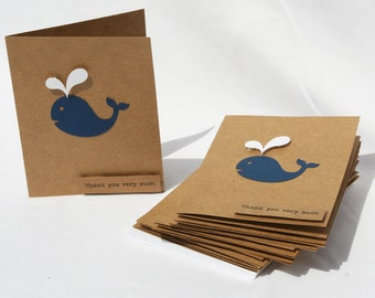 Baby Shower Thank You Cards - Baby Boy Thank You Cards - Baby Girl Thank You Cards - Thank you cards - Navy Whale Thank You Cards - 50