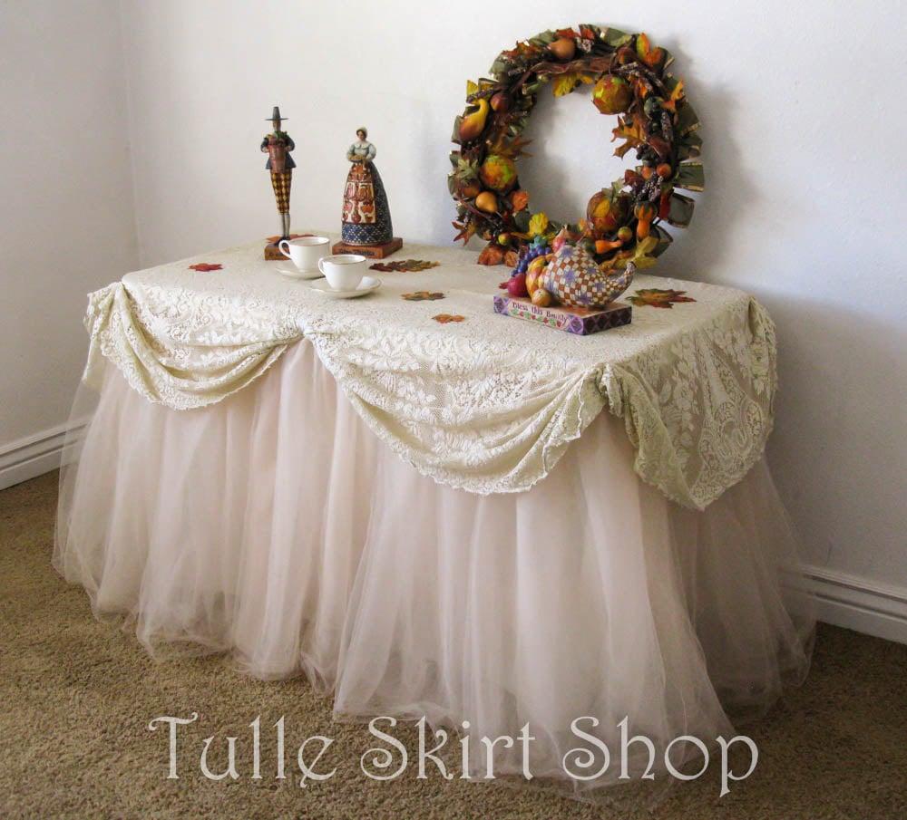 Champagne Tulle Table Skirt Beige Tutu Tableskirt For