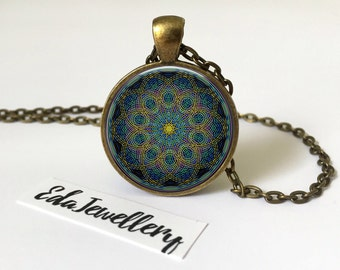 Mandala Pendant, Colourful Mandala Necklace