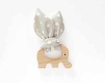 Ring Rattle Teether wood - elephant - organic cotton - grey stars