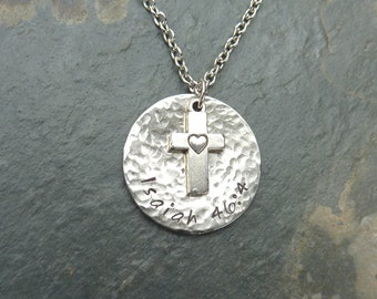 Scripture Necklace with a Silver Cross over a Hammered Nickel Silver Disc