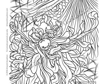 "Japanese Blossoms ""Flowing Flower Design"" Adult coloring page printable download from Artwork Anywhere ~hand drawn dynamic flowered design~"