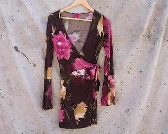 Bell Sleeve Floral Wrap Dress SMALL/XS