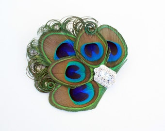 Sincere  - Peacock bridal fascinator / Peacock hair clip / Feather fascinator