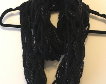 Super Chunky Arm Knitted Infinity Scarf - Black Twist