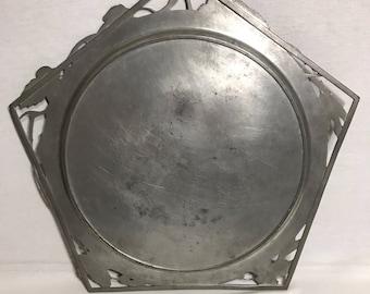 Vintage Tin tray stamped Metal openwork Vintage kitchen serving