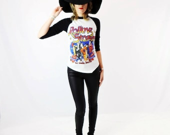 Vintage Stones Raglan! Women's Vintage RARE Rolling Stones 1981-82 Concert Tee with 3-D Front and Back Graphics Size XS/S
