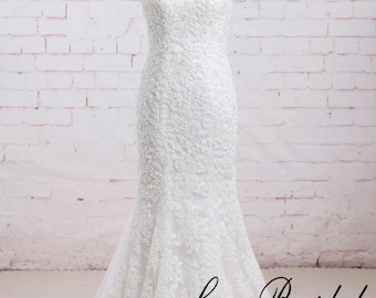 Mermaid Wedding Dress with Strapless Bodice Ivory Alencon Beading Lace Wedding Dress with Lace up Back