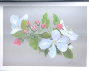 Original watercolor on cardboard Apple blossoms, mother's day gift, wedding gift