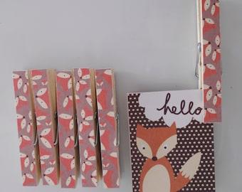 Fox Peg Magnets - Woodland Fridge Magnet Set - Magnetic Clothespins Pegs