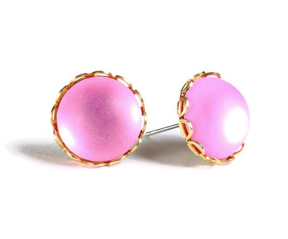Sale Clearance 20% OFF - Matte frost pink post earrings (656)
