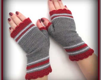 Gray with red   fingerless gloves   stripeds