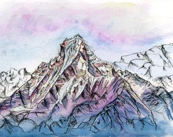 Ombre Mountain: watercolor print illustration