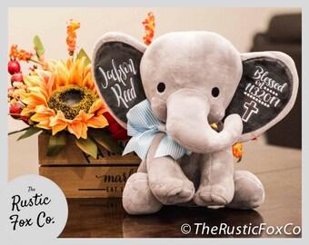 Dedication Gift, Godparent Gift, Gift From Godparents, Personalized Elephant, Baptism Gift, Christening Gift, Personalized Plush, Custom