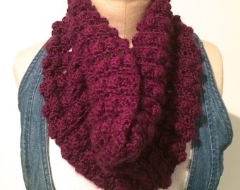 Crocheted Plum Bobble Cowl/Neckwarmer/Infinity Scarf and Fingerless Gloves - FREE U.S. SHIPPING