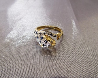 Vintage French 18k Gold Sapphires Diamonds Ring, 18k Panther Ring , Diamonds sapphires Ring