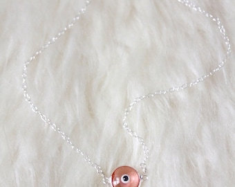 Evil Eye Necklace - Murano Glass and Sterling Silver -- PINK