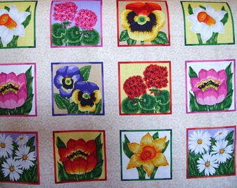 Panel of 33 labels of cotton fabric - Spring Flowers.