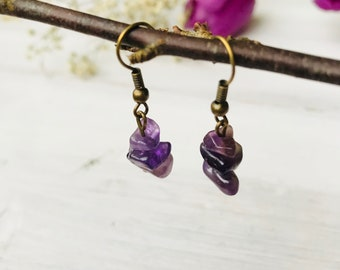 Amethyst earrings, dangle earrings, amethyst gemstone dangle earrings, february birthstone jewelry earrings