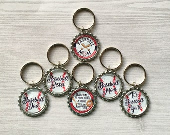 Baseball Keychains,Baseball Keyrings,Keychains,Keyrings,Bottelcap,Bottle Cap Keychains,Bottle Cap Keyrings,Accessories,Gift,Handmade