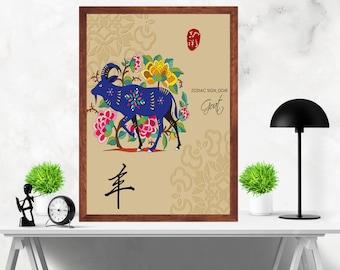 Chinese Zodiac Goat  Asian wall art Digital Print Poster