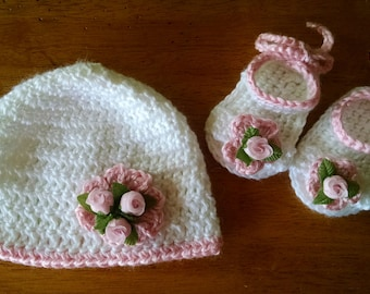 Crocheted Baby Hat and Sandals Set (All Colors) (Sizes up to 24 Months)