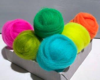 "Neon roving sampler, Florescent Felting wool kit, ""Color Me Wilde"" Highliter Yellow, Safety Orange, Lime, Fuchsia, Bright Aqua, Kelly Green"