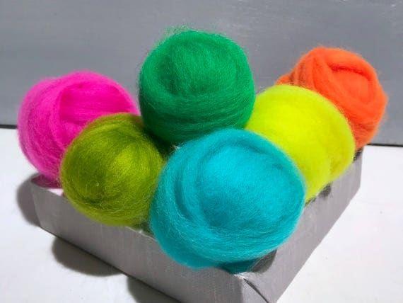 "Neon roving sampler, Florescent Felting wool kit, ""Color Me Wilde"" Highliter Yellow, Safety Orange, Lime, Fuchsia, Bright Aqua, Kelly Green"