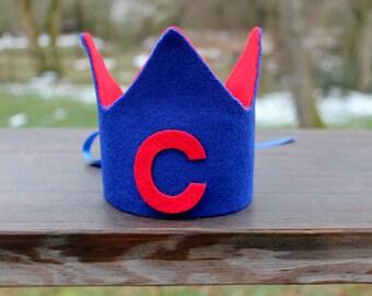 Boy's birthday crown, 1st birthday crown, boy first birthday hat, blue and red crown