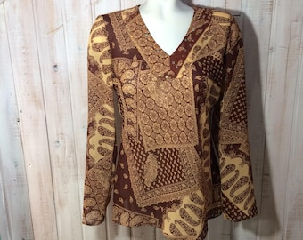 Blouse, Gypsy, vintage, retro, paisley and paiellette size small top