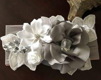 Beautiful headband Gray and white