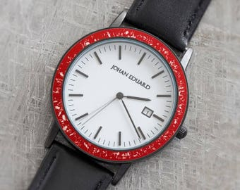 Red Stardust Watch, Unique Meteorite Watch With Red Enamel And Black Leather Straps. Johan Eduard Custom Watch