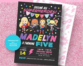 Girl Superhero Party. Superhero Invitation. Supergirl Invitation. Superhero Girl Party. Superhero Girl Birthday.