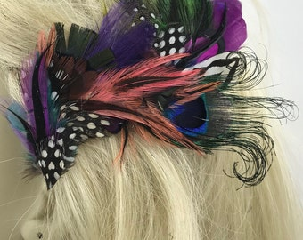 Bright MultiHued Feather Hair Clip, Feather Hair Clip of Many Colors, Feather Fascinator, Boho Feather Barrette, Gypsy Feather Clip