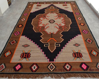 "6'1'' x 12'1'' Anatolia Turkish Kilim Rug Hand Woven Flat Weave Wool Area Rug 84"" x 145"" FREE Shipping to USA from Turkey sku: MRK8529"