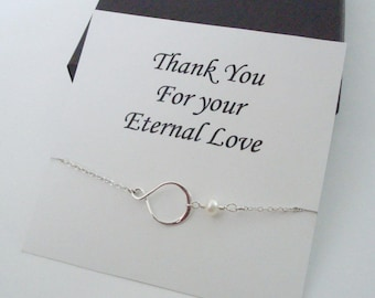 Eternity Infinity Charm with White Pearl Silver Necklace ~Personalized Jewelry Gift Card for Mom, Best Friend, Sister, Bridal Party, Wedding
