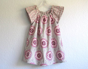 Girls Grey Flutter Sleeve Dress - Grey Dress with Pink and White Flowers - Little Girls Floral Dress - Size 12m, 18m, 2T, 3T, 4T, 5, 6 or 8