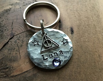 Deathly Hallows Name Tag Pet ID Tag, Dog Tag, Hand Stamped Pet Tag
