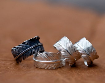 Silver Feather Ring | Native American Inspired | Tribal Ring | Adjustable Ring | Feather Couples Ring |Sterling Silver Vintage Ring Oxidized