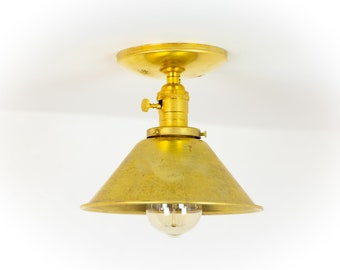 Ceiling Light - Brass Ceiling Lamp - Mid Century Modern - Lighting - Semi Flush Mount - Flush Mount Lights - Industrial Lighting - Modern